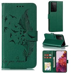 Intricate Embossing Lychee Feather Bird Leather Wallet Case for Samsung Galaxy S21 Ultra / S30 Ultra - Green