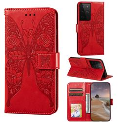 Intricate Embossing Rose Flower Butterfly Leather Wallet Case for Samsung Galaxy S21 Ultra / S30 Ultra - Red