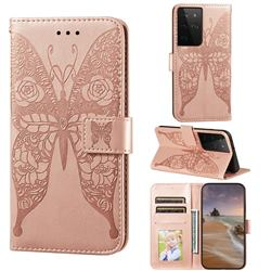Intricate Embossing Rose Flower Butterfly Leather Wallet Case for Samsung Galaxy S21 Ultra / S30 Ultra - Rose Gold