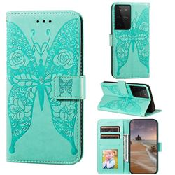Intricate Embossing Rose Flower Butterfly Leather Wallet Case for Samsung Galaxy S21 Ultra / S30 Ultra - Green