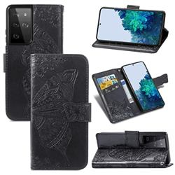 Embossing Mandala Flower Butterfly Leather Wallet Case for Samsung Galaxy S21 Ultra / S30 Ultra - Black