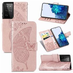 Embossing Mandala Flower Butterfly Leather Wallet Case for Samsung Galaxy S21 Ultra / S30 Ultra - Rose Gold