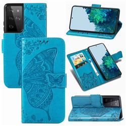 Embossing Mandala Flower Butterfly Leather Wallet Case for Samsung Galaxy S21 Ultra / S30 Ultra - Blue