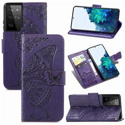 Embossing Mandala Flower Butterfly Leather Wallet Case for Samsung Galaxy S21 Ultra / S30 Ultra - Dark Purple