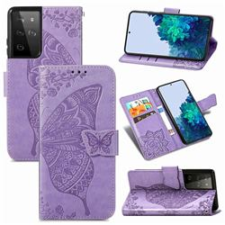 Embossing Mandala Flower Butterfly Leather Wallet Case for Samsung Galaxy S21 Ultra / S30 Ultra - Light Purple