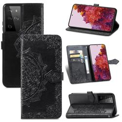 Embossing Imprint Mandala Flower Leather Wallet Case for Samsung Galaxy S21 Ultra / S30 Ultra - Black