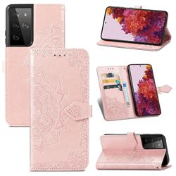 Embossing Imprint Mandala Flower Leather Wallet Case for Samsung Galaxy S21 Ultra / S30 Ultra - Rose Gold