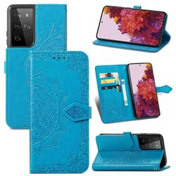 Embossing Imprint Mandala Flower Leather Wallet Case for Samsung Galaxy S21 Ultra / S30 Ultra - Blue