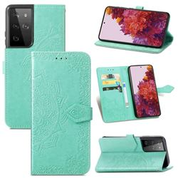 Embossing Imprint Mandala Flower Leather Wallet Case for Samsung Galaxy S21 Ultra / S30 Ultra - Green