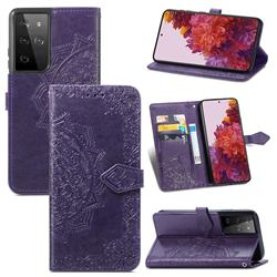 Embossing Imprint Mandala Flower Leather Wallet Case for Samsung Galaxy S21 Ultra / S30 Ultra - Purple