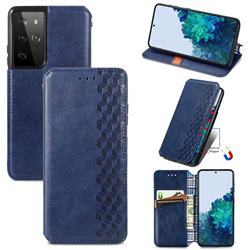 Ultra Slim Fashion Business Card Magnetic Automatic Suction Leather Flip Cover for Samsung Galaxy S21 Ultra / S30 Ultra - Dark Blue