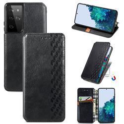 Ultra Slim Fashion Business Card Magnetic Automatic Suction Leather Flip Cover for Samsung Galaxy S21 Ultra / S30 Ultra - Black