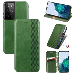 Ultra Slim Fashion Business Card Magnetic Automatic Suction Leather Flip Cover for Samsung Galaxy S21 Ultra / S30 Ultra - Green