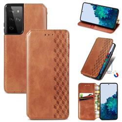 Ultra Slim Fashion Business Card Magnetic Automatic Suction Leather Flip Cover for Samsung Galaxy S21 Ultra / S30 Ultra - Brown