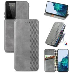 Ultra Slim Fashion Business Card Magnetic Automatic Suction Leather Flip Cover for Samsung Galaxy S21 Ultra / S30 Ultra - Grey