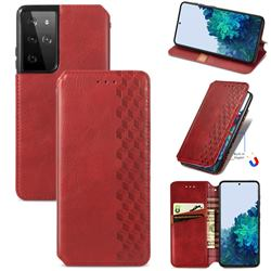 Ultra Slim Fashion Business Card Magnetic Automatic Suction Leather Flip Cover for Samsung Galaxy S21 Ultra / S30 Ultra - Red
