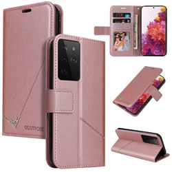 GQ.UTROBE Right Angle Silver Pendant Leather Wallet Phone Case for Samsung Galaxy S21 Ultra / S30 Ultra - Rose Gold