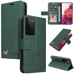 GQ.UTROBE Right Angle Silver Pendant Leather Wallet Phone Case for Samsung Galaxy S21 Ultra / S30 Ultra - Green