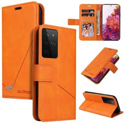 GQ.UTROBE Right Angle Silver Pendant Leather Wallet Phone Case for Samsung Galaxy S21 Ultra / S30 Ultra - Orange
