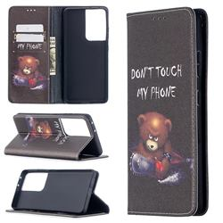 Chainsaw Bear Slim Magnetic Attraction Wallet Flip Cover for Samsung Galaxy S21 Ultra / S30 Ultra