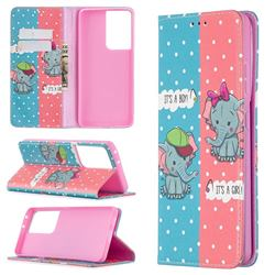 Elephant Boy and Girl Slim Magnetic Attraction Wallet Flip Cover for Samsung Galaxy S21 Ultra / S30 Ultra