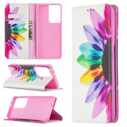 Sun Flower Slim Magnetic Attraction Wallet Flip Cover for Samsung Galaxy S21 Ultra / S30 Ultra