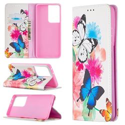 Flying Butterflies Slim Magnetic Attraction Wallet Flip Cover for Samsung Galaxy S21 Ultra / S30 Ultra