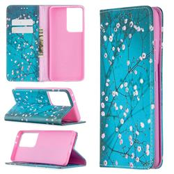 Plum Blossom Slim Magnetic Attraction Wallet Flip Cover for Samsung Galaxy S21 Ultra / S30 Ultra