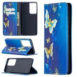 Gold Butterfly Slim Magnetic Attraction Wallet Flip Cover for Samsung Galaxy S21 Ultra / S30 Ultra
