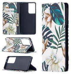 Flower Leaf Slim Magnetic Attraction Wallet Flip Cover for Samsung Galaxy S21 Ultra / S30 Ultra