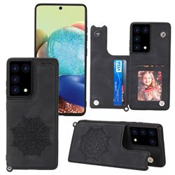 Luxury Mandala Multi-function Magnetic Card Slots Stand Leather Back Cover for Samsung Galaxy S21 Ultra - Black