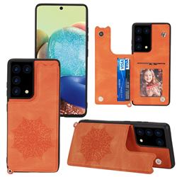 Luxury Mandala Multi-function Magnetic Card Slots Stand Leather Back Cover for Samsung Galaxy S21 Ultra - Yellow