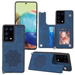 Luxury Mandala Multi-function Magnetic Card Slots Stand Leather Back Cover for Samsung Galaxy S21 Ultra - Blue