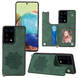 Luxury Mandala Multi-function Magnetic Card Slots Stand Leather Back Cover for Samsung Galaxy S21 Ultra - Green
