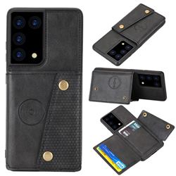 Retro Multifunction Card Slots Stand Leather Coated Phone Back Cover for Samsung Galaxy S21 Ultra - Black