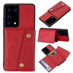 Retro Multifunction Card Slots Stand Leather Coated Phone Back Cover for Samsung Galaxy S21 Ultra - Red