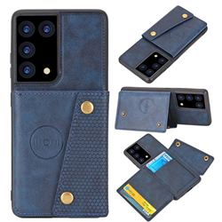 Retro Multifunction Card Slots Stand Leather Coated Phone Back Cover for Samsung Galaxy S21 Ultra - Blue
