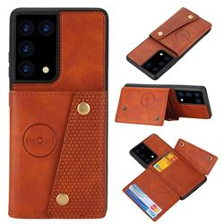 Retro Multifunction Card Slots Stand Leather Coated Phone Back Cover for Samsung Galaxy S21 Ultra - Brown