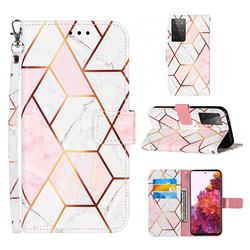 Pink White Stitching Color Marble Leather Wallet Case for Samsung Galaxy S21 Ultra