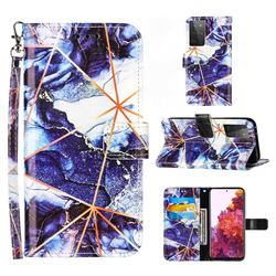 Starry Blue Stitching Color Marble Leather Wallet Case for Samsung Galaxy S21 Ultra