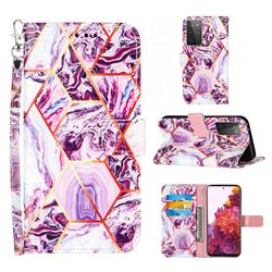 Dream Purple Stitching Color Marble Leather Wallet Case for Samsung Galaxy S21 Ultra