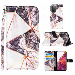 Black and White Stitching Color Marble Leather Wallet Case for Samsung Galaxy S21 Ultra