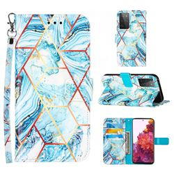 Lake Blue Stitching Color Marble Leather Wallet Case for Samsung Galaxy S21 Ultra