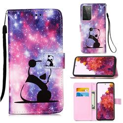 Panda Baby Matte Leather Wallet Phone Case for Samsung Galaxy S21 Ultra