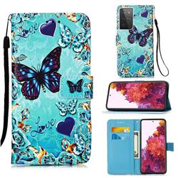 Love Butterfly Matte Leather Wallet Phone Case for Samsung Galaxy S21 Ultra