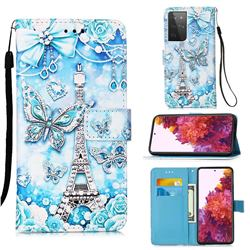Tower Butterfly Matte Leather Wallet Phone Case for Samsung Galaxy S21 Ultra