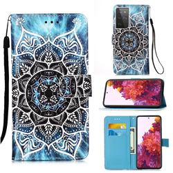 Underwater Mandala Matte Leather Wallet Phone Case for Samsung Galaxy S21 Ultra