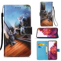 Mirror Cat Matte Leather Wallet Phone Case for Samsung Galaxy S21 Ultra