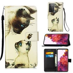 Cat Confrontation Matte Leather Wallet Phone Case for Samsung Galaxy S21 Ultra