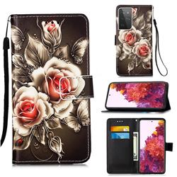 Black Rose Matte Leather Wallet Phone Case for Samsung Galaxy S21 Ultra